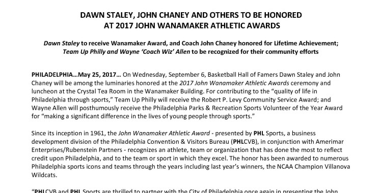 BIG NEWS!  Team Up Philly to receive Robert P. Levy Community Service Award at the 2017 John Wanamaker Athletic Awards ceremony